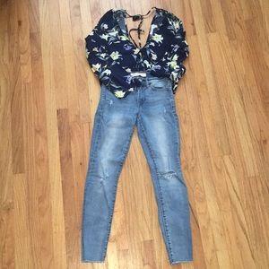 Gap Raw Hem Skinny Jeans